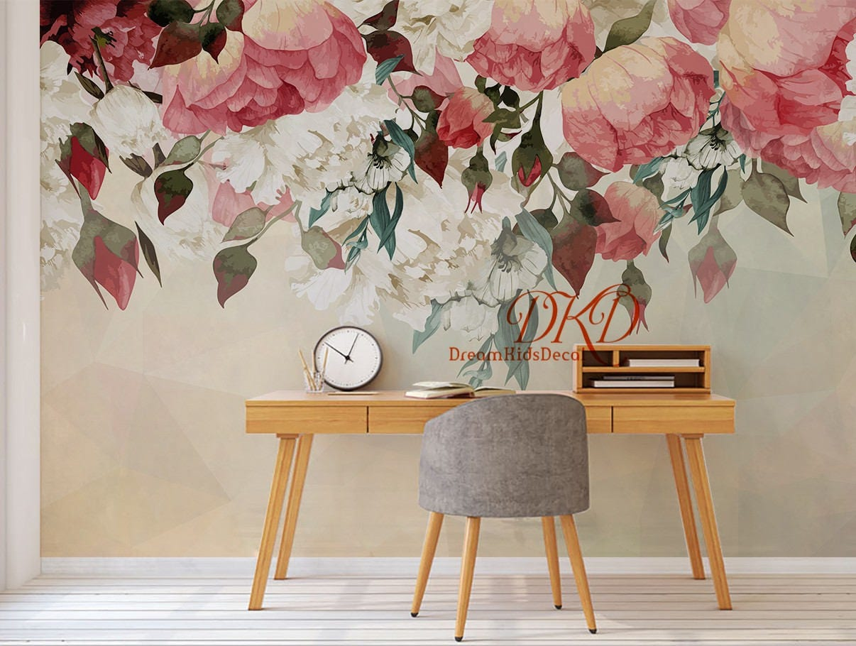Vintage floral wallpaper watercolor wall art red flower for Mural flower