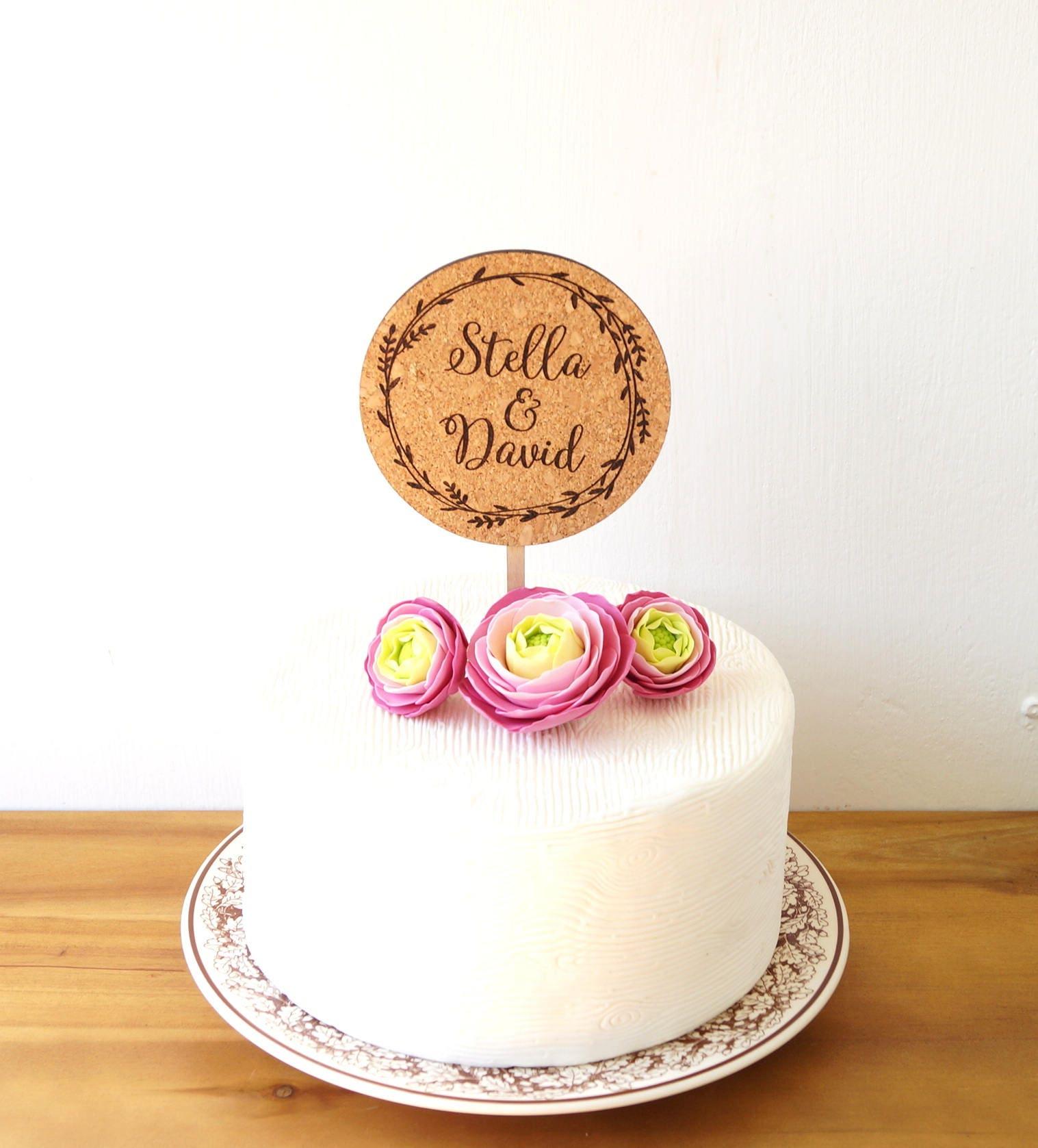 Custom cake topper, wedding cake topper, cork cake topper ...
