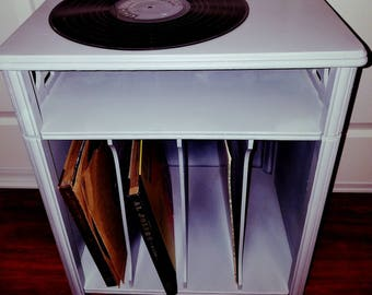 Vintage Chalky Gray End Table Record Cabinet  Mid Century Accent Solid Wood Phonograph Storage