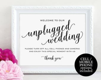 Unplugged Wedding Sign, Turn off Phones and Cameras, Wedding Sign, Wedding Printable, Unplugged Sign, PDF Instant Download, MM01-1