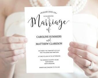 Wedding Invitation Template, Printable Invite Template, Editable Wedding Invitation, Rustic Wedding Invitation, Instant Download, MM06-1