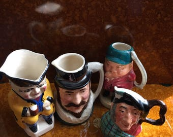 4 vintage miniature toby jugs // Kelsboro Ware Auld Mac // BF // Burlington ware /  - Collectible / China / Ceramic / Hand Painted