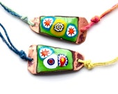 2 copper enamel friendship bracelets handmade millefiori love BFF