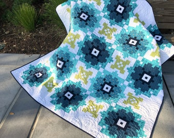 Bloomers Quilt Kit, featuring prints from Gloaming by Shelley Cavanna of Cora's Quilts for Contempo Fabrics by Benartex