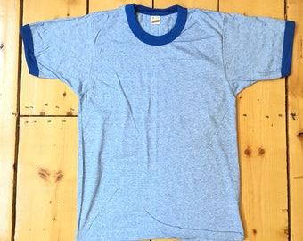 Vintage 1970s Screen Stars 50/50 Deadstock NOS Blank Heather Blue Ringer T Shirt Perfect Basic Tee - NWOT - Adult Large/Medium