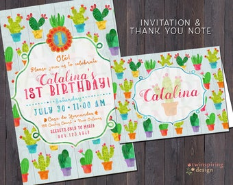 Cactus Fiesta Birthday Invitations and/or Thank You Notes with Envelopes