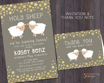 Twin Baby Shower Invitations and/or Thank You Notes with Envelopes | Holy Sheep Invitation | Gender Neutral Twin Shower