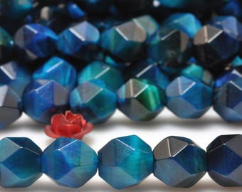 47 pcs of Blue Tiger Eye Faceted nugget Stars beads in 8mm (06919#)