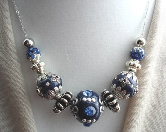 Blue Choker, Blue Necklace, Silver Chain, Chunky Blue Choker, Blue Beaded Choker, Chunky Blue Necklace