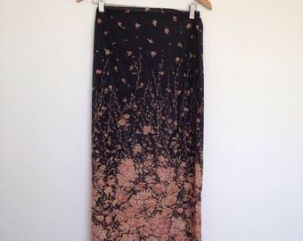 Vintage floral black sheer 90's boho maxi skirt