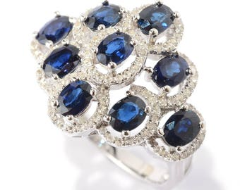 Sterling Silver 2.99ctw Blue Sapphire Cluster Ring SZ 5,6,7,8,9,10