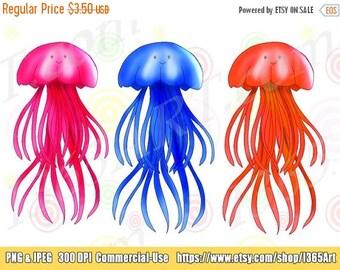 50% OFF Jellyfish Clipart, Jellyfish clip art, Sea Life Clipart, Digital, Scrapbooking, Aquatic, Underwater, Sea Creatures, Instant Download
