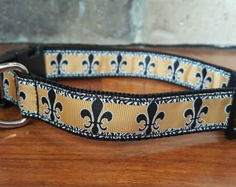 Black and Gold Fleur De Lis Dog Collar  Size Large