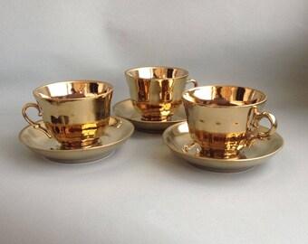 Soviet vintage ceramic golden cup Retro coffee cup USSR cup Retro kitchen Coffee cup 1980s Perestroika