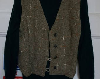 Dark green Angora jumper+olive green wool waist coat