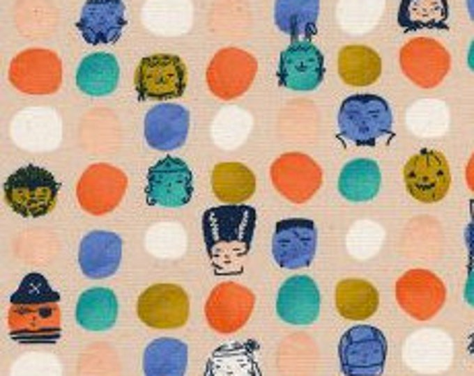 Dress Up in Peach- Lil' Monsters by Cotton and Steel- Holiday Fabric