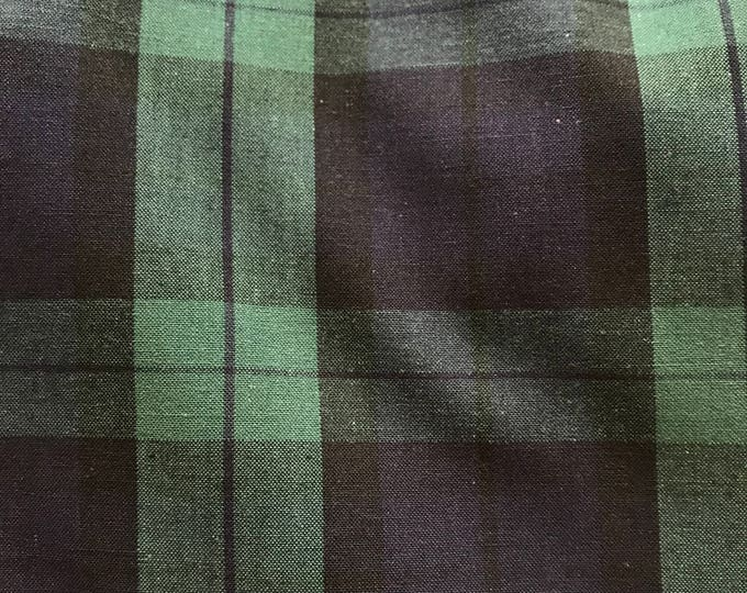 Classic Green and Navy Cotton Plaid - Cotton
