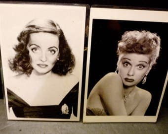 Movie Stars Post cards - Bette Davis and Lucille Ball - black and white unused