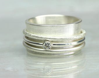 Spinner Ring Spinning ring Sparkle with stone, 925 silver, zirconia ring, wide bandring, silver ring with stone