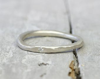 925 Silver ring stacking ring with diamond, collecting ring, stone ring, engagement ring, diamond ring organic form