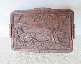 Vintage Syroco Wood Trinket Cigarette Box Setter Dog