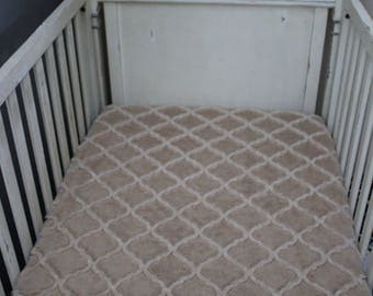 Sand Beige Lattice Minky Crib Sheet,  Baby, Toddler, Crib Bedding, Nursery