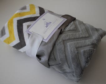 Yellow, Gray, Silver, White Chevron Minky Blanket with Charcoal Gray Embossed Chevron and Coordinating Satin, Baby Girl or Baby Boy