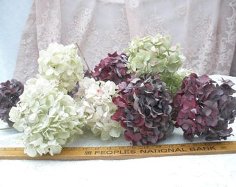 New lower price!- Dried hydrangea flowers- a large lot green/red/white mopheads- shabby chic floral decor-winter florals