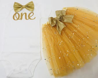 Baby girls first birthday tutu outfit gold | You are My Sunshine Birthday Outfit | First Birthday Outfit Girl | 1st Birthday Girl Outfit
