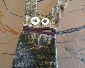 Upcycled money bunny, monster button eyed zip mouth
