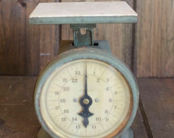 Vintage Antique Rusty Blue scale, rustic scale, primitive scale, kitchen scale, home decor, scale