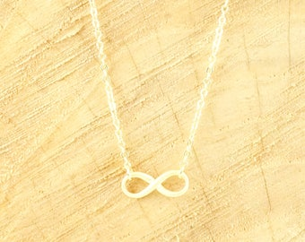 Infinity necklace 14k matte gold plated