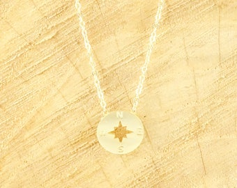 Compass necklace 14 k gold plated