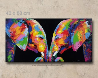 40x80 cm, Colorful  elephant painting, wall decor