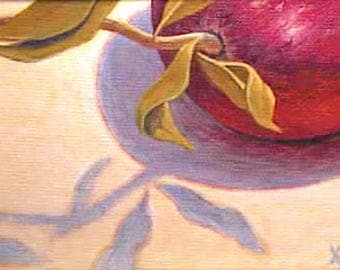 Kitchen art - 'Pomegranate Shadows' - original oil painting - red - fruit - food art - realistic - still life - small - 5x7