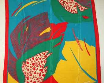 """Vintage 1980s TED LAPIDUS Silk Scarf / Red Multi Color Feather Design / Large 34.5"""" x 32.5"""""""