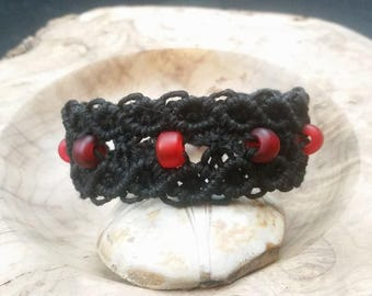 Black and Red Hemp Bracelet