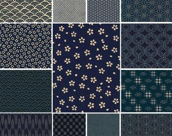 16 Japanese Indigo-Navy Blue Sevenberry Kasuri Fat Quarter Quilt Fabric Bundle:  4 Yards