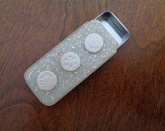 Slider box, polymer clay Faux Opal/pearl snowflakes,  optional magnet strip