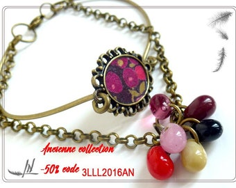 liberty fabric bracelet pink and fuchsia, brass and Indian beads