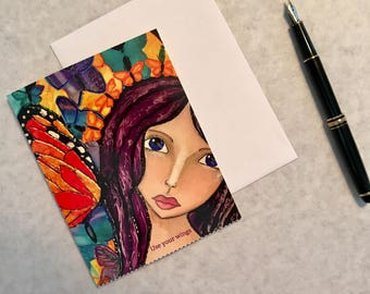 Note card. Art card. Greeting card. Print of original alcohol ink art. Caity's Girls.  Use Your Wings.