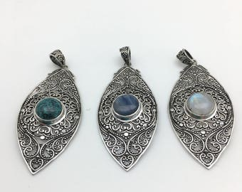 Magnificent Sterling Silver and Natural Stone Pendant