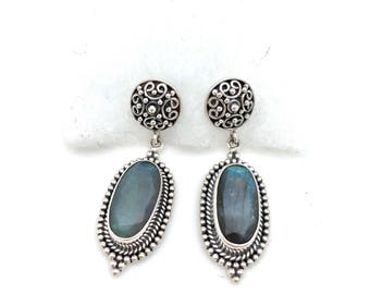 Sterling Silver and Labradorite Dangle Earrings