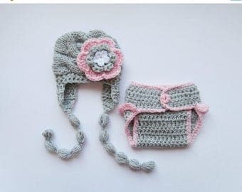 ON SALE 35% SALE Knit Baby Hat and Diaper Cover Set -Newborn Baby-  Photography Photo Prop Set - Newborn Diaper Cover and Hat
