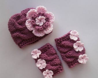 ON SALE 20% DISCOUNT Set Baby Girl Hat and Leg Warmers-Newborn Baby Girl -Photography Photo Prop Set -Newborn Leg Warmers and Hat