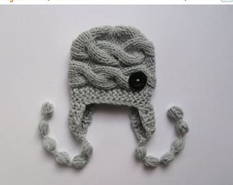SALE 10% DISCOUNT Baby Boy Hat , Knit Baby Boy Cable Hat , Newborn Baby Boy Hat Photo Prop , Knit Baby Hat