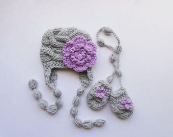 SALE 15% DISCOUNT Knit Baby Girl Hat and Mittens , Baby Girls Winter Outfit , Knit Baby Beanie and Mittens