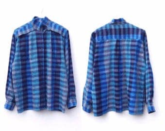 ON SALE  Vintage Blue Check Shirt | Boxy Fit | Mandarin Collar | Oversized