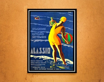Reprint of a Vintage 1929 Italian Travel Poster to Alassio