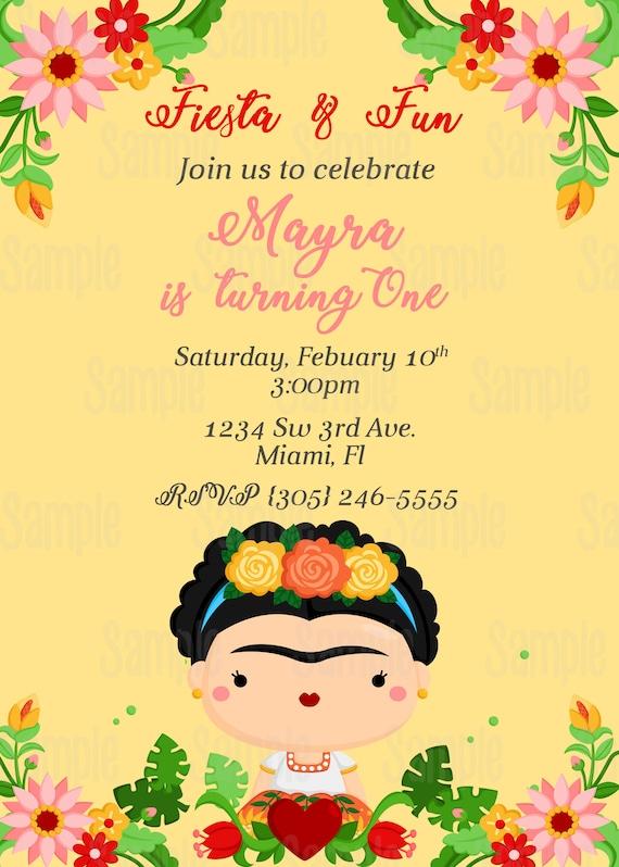 Printable Frida Kahlo Birthday Invitation Plus Free Blank Matching